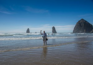 Si paddling on Cannon Beach
