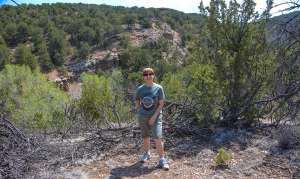 Sandra on the trail to Tesuque Creek and Canyon.
