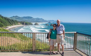 Sandra and Si at Ecola State Park overlooking Cannon Beach