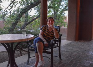 Sandra enjoying a beverage...or two!