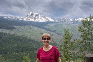 Sandra with Heavens Peak in the background