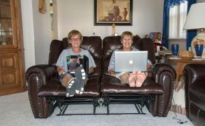 Home from home!! Dot and I on-line - wonder what we are looking at!!