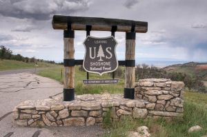 The Shoshone National Forest sign or as I like to call it The Shoeshine National Forest!!