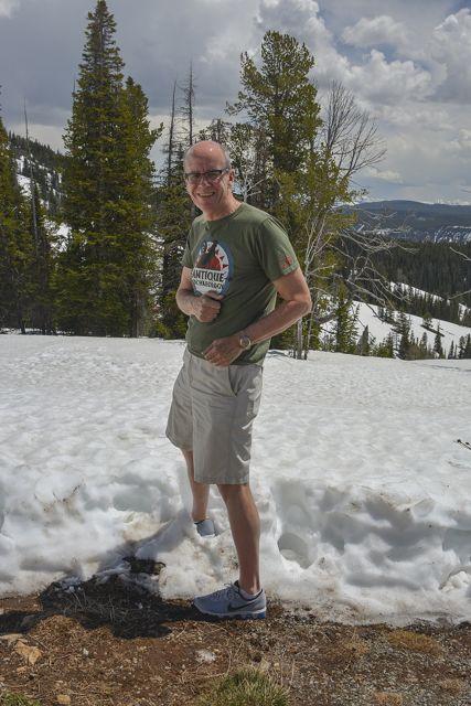 Simon enjoying the snow at Dunraven Pass