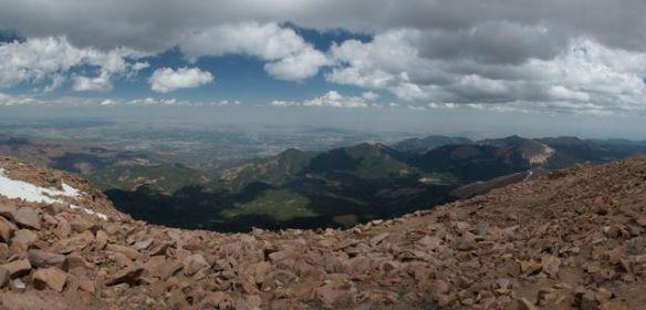 Panorama of Pikes Peak Summit