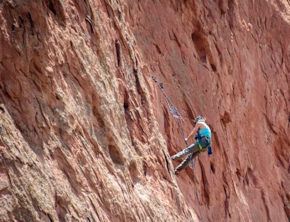 Cliff hanger at the Garden of the Gods