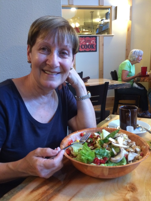 Sand with her healthy salad!