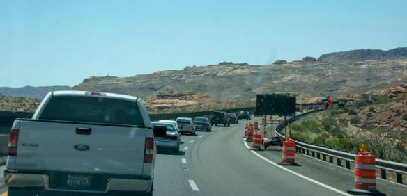 The inevitable road works on the way from Moab to Las Vegas
