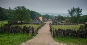Plimoth Plantation with Cape Cod in the distance