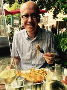Si at McKays with his fish and chips!