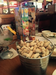 Peanuts in their shells at the Texas Roadhouse