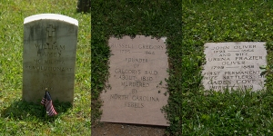 Gravestones of the Revolutionary War, the Civil War and John Oliver and his wife, the first European Settlers of Cades Cove