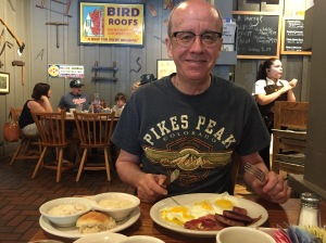 Si at Cracker Barrel with his unhealthy breakfast!
