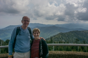 Si and Sand at the tower on Clingmans Dome